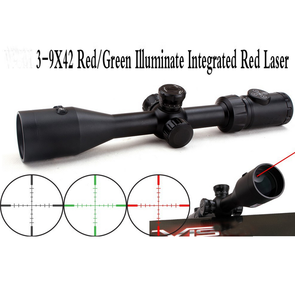 Hunting accessories 3-9x42 gun scopes with 1 mw red dot laser sight scope