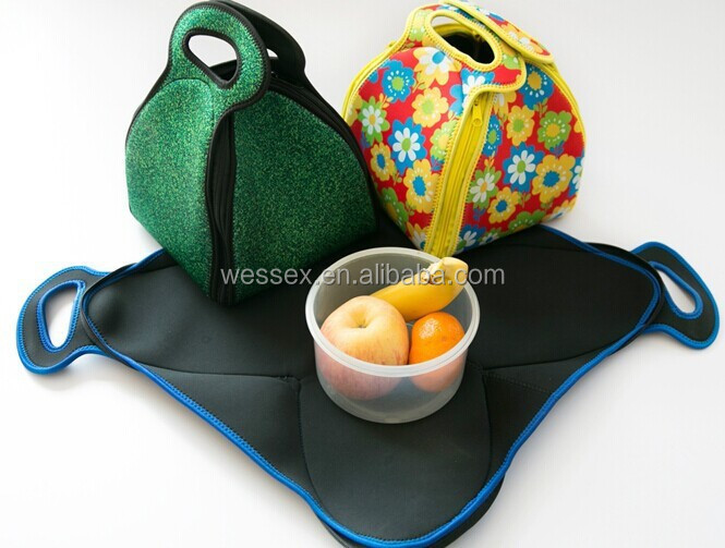 Foldable Neoprene Lunch Bag Zippered Lunch Bags