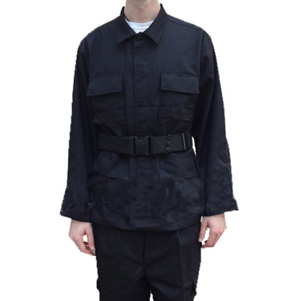 Button Front Black BDU Military Camouflage Uniform