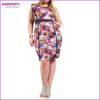 Factory Price Polyester Plus Size Sleeveless Printed Brand Pretty Women Dress