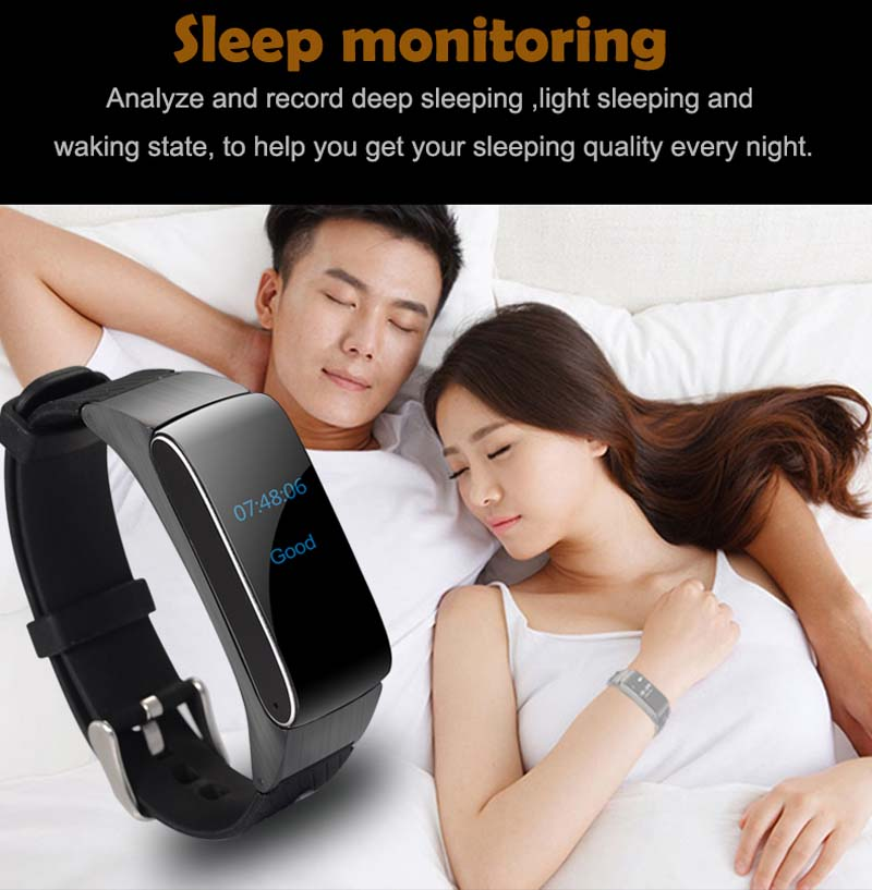 wristband to monitor sleep with call id and touch call back with headset function