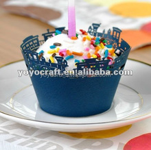 Fashion design laser cut paper cupcake wrappers for wholesale and retail