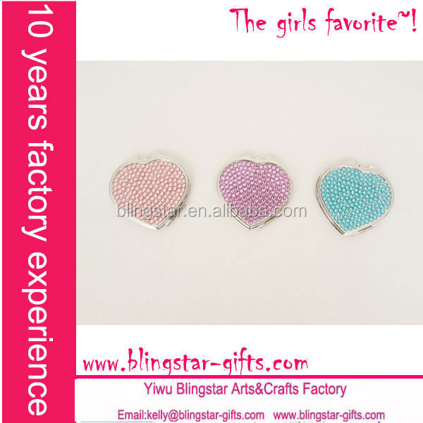 metal heart rhinestone makeup mirrors