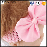 Hollow out knitting chiffon bowknot Headband tulle Flower with Headband Infant Baby Girls Children hair accessories HA-1078