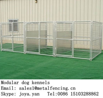 Wholesale zoo animals fence panels movable dog cages with roofs 3 run dog houses modular dog pens anti rust dog kennels