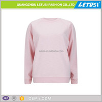 100% blank sport o neck sweater fabric raglan pink pullover hoodie without pockets