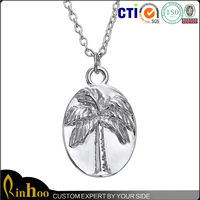 Hot selling china factory direct cheap silver plated necklace with coconut tree pattern