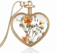heart shape perfume bottle pendant necklace with dried flower in america
