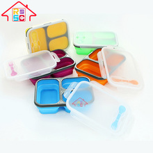 3-Compartment snap style airtight portable plastic Silicone kids lunch Box with lock