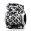 White And Blue Zircon Eyes Owl Design Authentic 925 Sterling Silver European Charm Beads For European Jewelry Making SZPB264