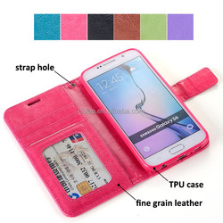 Custom pu leather cover for galaxy s6 supplier for oem S6 case
