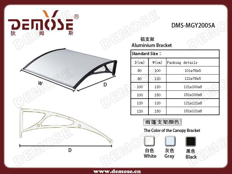 PC and aluminium french window awning