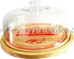 Acrylic Cake Cover With Wood Plate Cheese board With Acrylic Lid