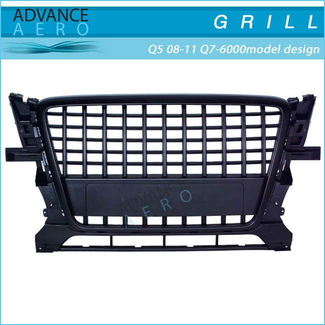 FOR 2008-2011 AUDI Q5 Q7-6000 MODEL DESIGN BLACK/CHROME ABS FRONT GRILL GRILLE
