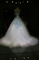 Appliqued Sky Blue Lace Ball Gown Strapless A-Line Floor-lenght Sweep Train Wedding Dress 2016
