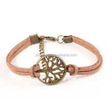 Fashion Vintage hand-woven Rope Chain Leather Bracelet Metal tree charm bracelets jewelry