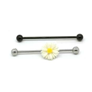 daisy flower industrial barbell pretty cartilage bar jewelry