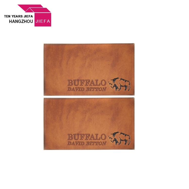 Custom Printed Embossed PU Leather Labels with Logo for Garment