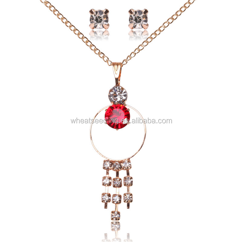 mixed order crystal proposal engagement indian design ruby drops necklace