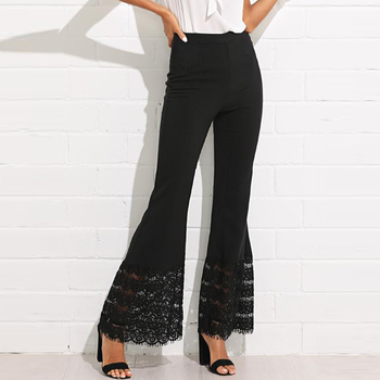 Black Color Lace Insert Flared Leg Ladies Pants