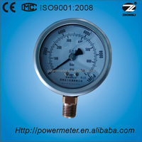 "Wika type 2.5"" bottom connection pressure gauge stainless steel case with CE certificate"