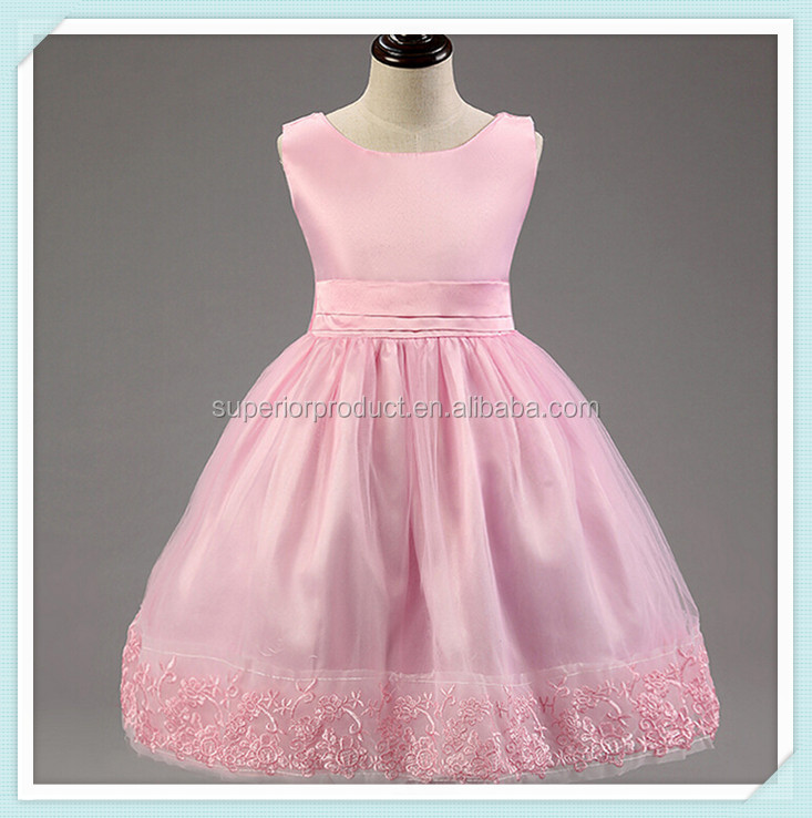 Pink High Quality Lace Fashion Kids Party Wear Girls' Dress Kids Clothes Baby Vest Dress Lace Girl Wedding Party Dress Girls