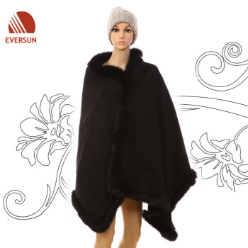 2014 Fashion Lady Acrylic Woven Fall Winter Elegant Shawl Poncho with Fur