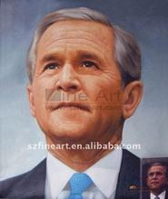 Portrait oil painting from photo George W Bush