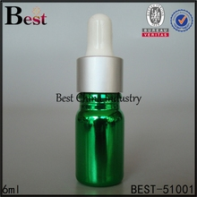 china suppliers cosmetics packing 6ml personal care hair essential oil green glass dropper bottle