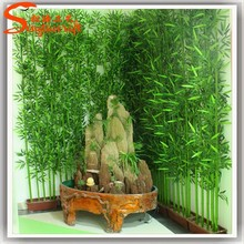 Indoor green cheap artificial lucky bamboo branches for decoration
