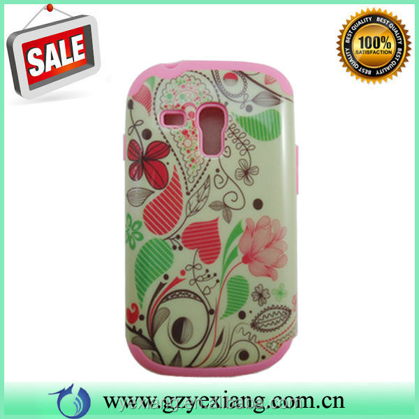 Water Printing Cell Phone PC+Silicon Combo Case for Samsung galaxy s3mini