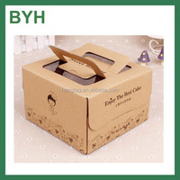 customized kraft paper cake packaging box for food with window/handle