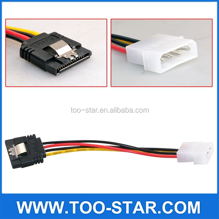 4Pin to with clip 2X Right Angle 15Pin Serial Molex 4P to 15P SATA Power cable with Latch
