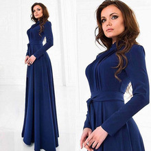 Vestidos 2015 New Style Autumn Women Long Maxi Dress Fashion Hot A-line Full Sleeves O-Neck Collar Elegant Floor-Length Dresses