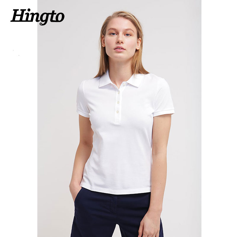 Custom embroidered logo white color polo t-shirts/t shirts plain for ladies