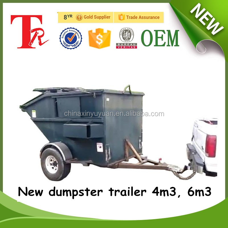 heavy duty stainless steel dumpster 4 cubic high quality trailer skip bin for storing or transporting garbage in our factory