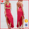 Strap Back Plunge neck Asymmetric Hem long Maxi party elegant dresses ladies