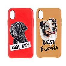 Embroidery stitching custom design dog and cat phone case