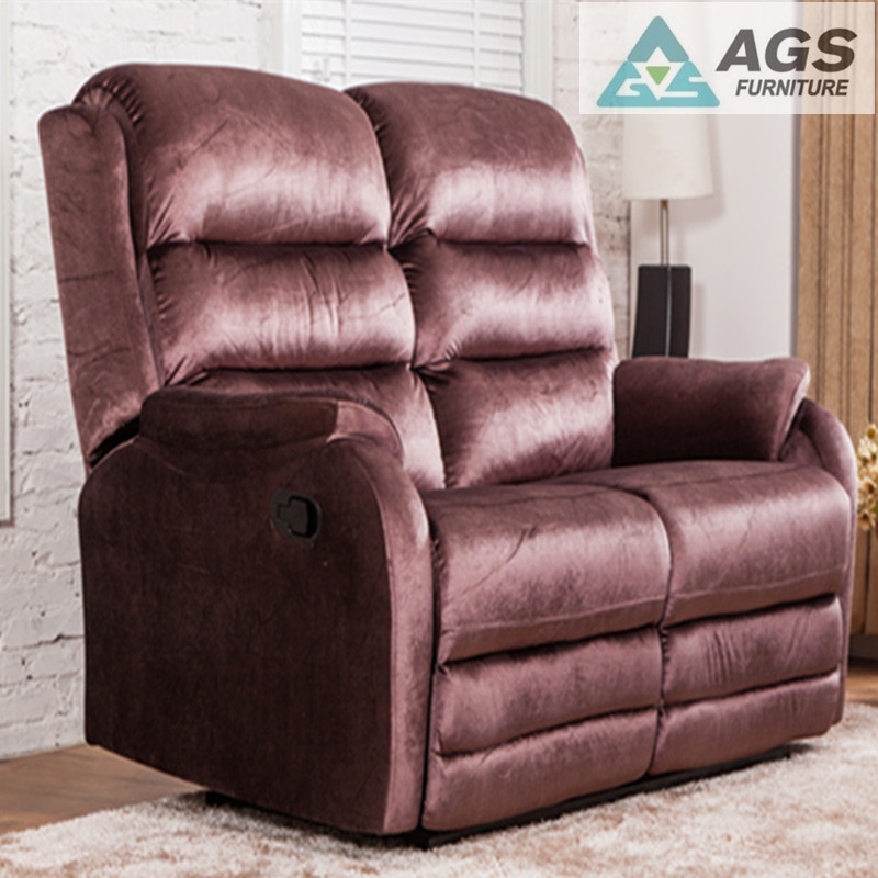Fashion Design High Quality AGS-7052 Double Seats Leather Recliner Living Room Sofa Chair