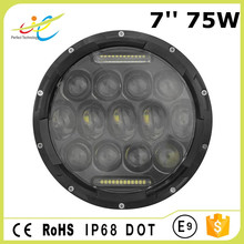 "New Jeep Wrangler 7"" 75w led headlight, Round 75 watt led work light , 7inch 75 watt led headlight"