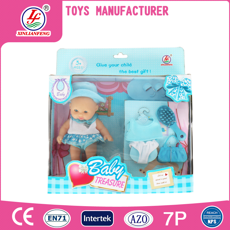 Baby toys 5 inch small vinyl plastic doll with clothes for sale