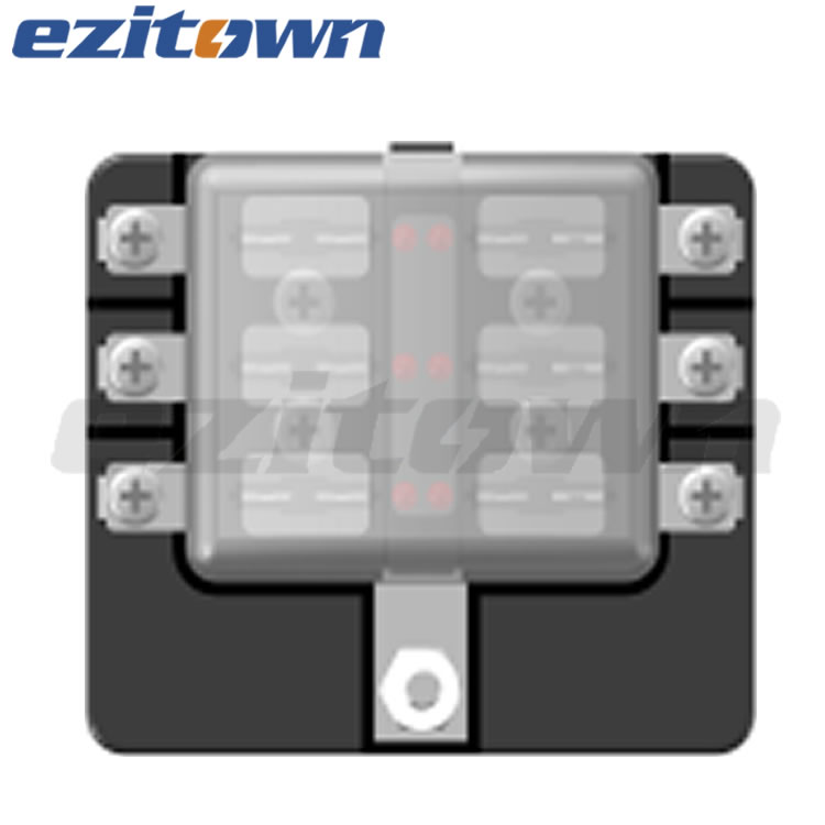 ezitown 6 way blade fuse box block for automotive car boat yacht marine truck trike vehicle RV w LED light indication and cover