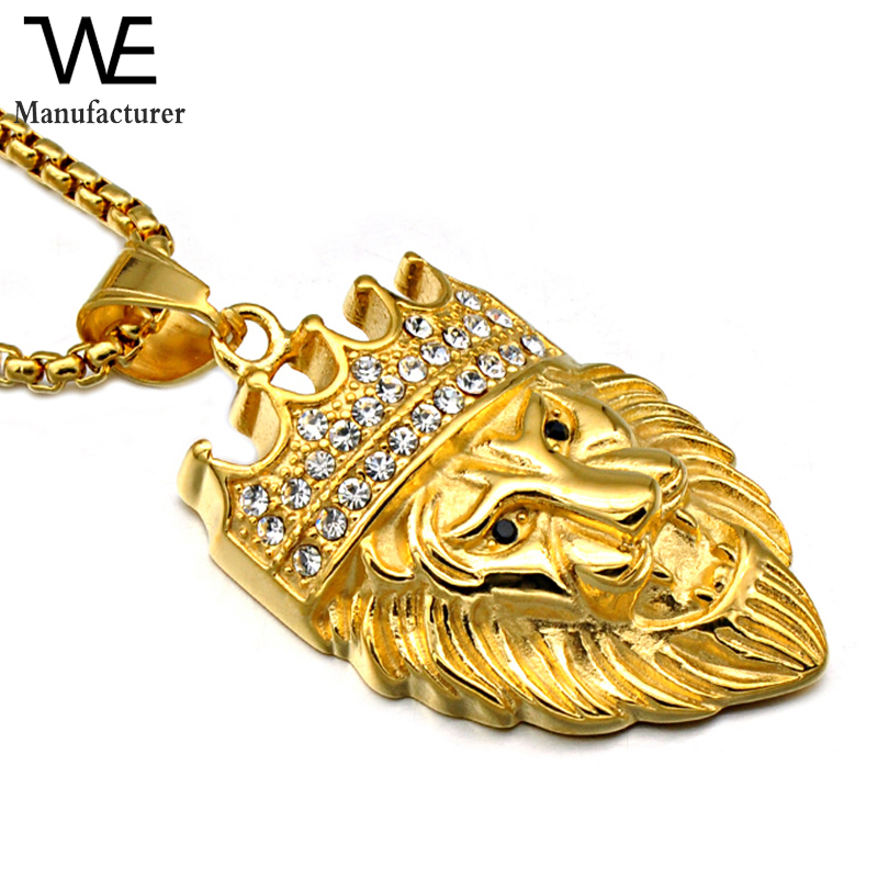 Luxury Stainless Steel Hip Hop Crystal Pave Crown Gold Lion Pendant Necklace For Custom Jewelry