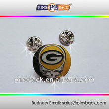 Skull Metal Soft Enamel Lapel Pins with epoxy dome-butterfly clutch back lapel pins-round/1""