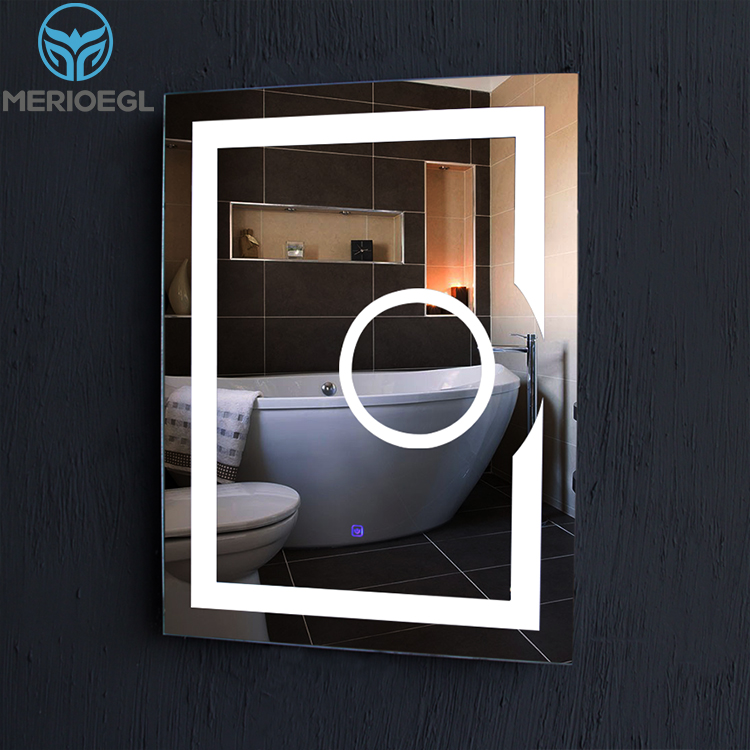 Heated Fogless Bathroom Illuminated Led Mirror With Touch Sensor Switch