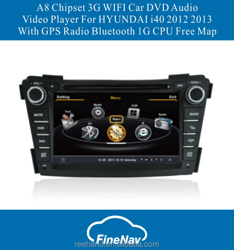 A8 Chipset Car DVD Audio Video Player For HYUNDAI i40 2012 2013 With GPS Radio Bluetooth 1G CPU Free Map