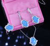 Shiny rhodium plated Hamsa finger opal jewelry sets, ring, bracelet, necklace