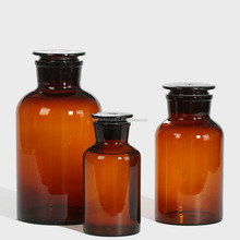 large volume 1000ml glass top Amber reagent glass bottle with glass cap for Chemical Laboratory