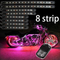 8pcs Motorcycle LED Light Kit Million Color Flexible Accent Glow Neon Strips with Wireless Remote Controller for Car SUV Truck