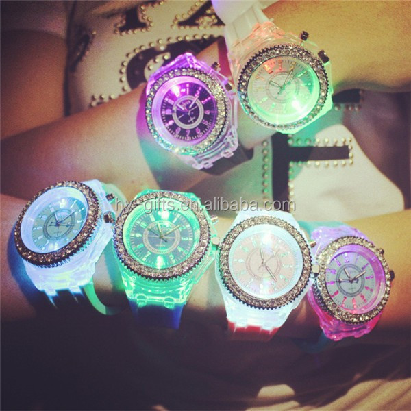 fashion jelly quartz watch flashing lighting led silicone watch